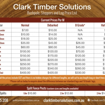 Bushpole, Steppers & Log Price List